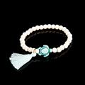 2016 new style men bracelet white color turtle pendant bead bracelet with tassel pulsera men jewelry