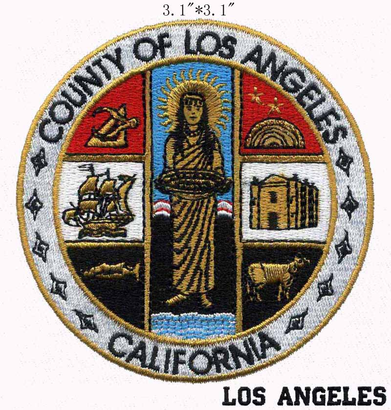 """County of Los Angeles California Seal embroidery patch 3.1"""" wide shipping/house/sheep/goddess(China (Mainland))"""