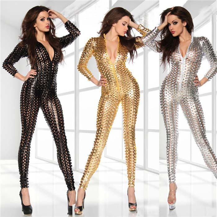 Sexy Full Body Latex Suit Bodystocking Faux Leather Fetish Pvc Catsuit Jumpsuit Club Top Clothing with Zipper Silver Gold Black1(China (Mainland))