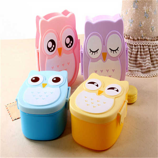cute owl bento box microwave oven children bento lunch box meal container box ebay. Black Bedroom Furniture Sets. Home Design Ideas