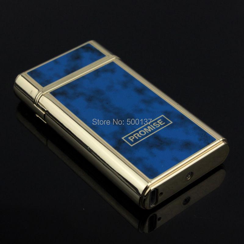 ถูก สีฟ้าหรูหราเขย่าแกว่งไปแกว่งมาไฟฟ้าXคู่Arcจุดระเบิดแบบชาร์จไฟแช็กกับกล่องของขวัญ