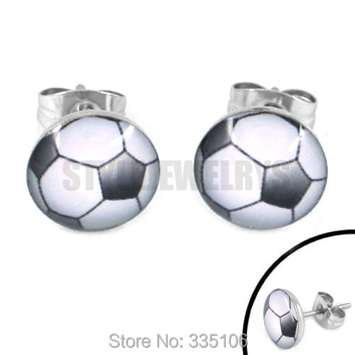 Free Shipping! Enamel Football Earrings World Cup Brazil Stainless Steel Jewelry Motor Biker Earring Studs SJE370094(China (Mainland))