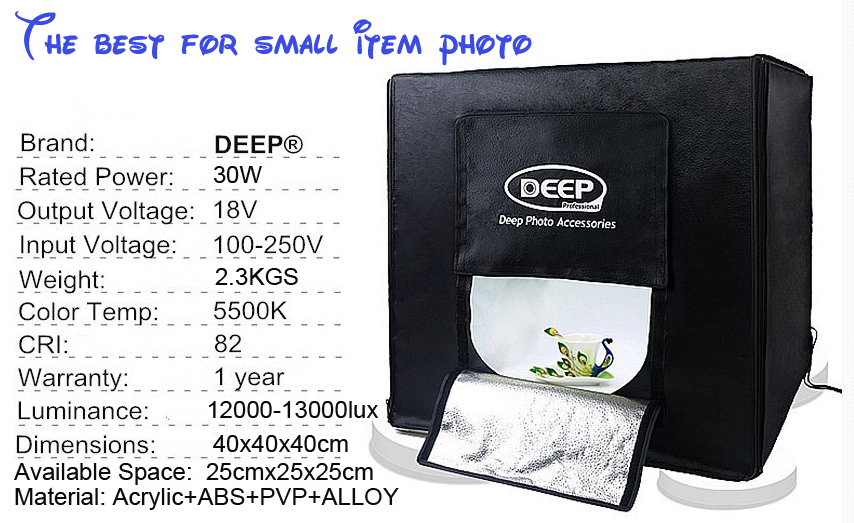 DHL/TNT FREE SHIPPING DEEP 15.7 inch Photo tent led lights 40cm photography light box photography studio set small photo box(China (Mainland))
