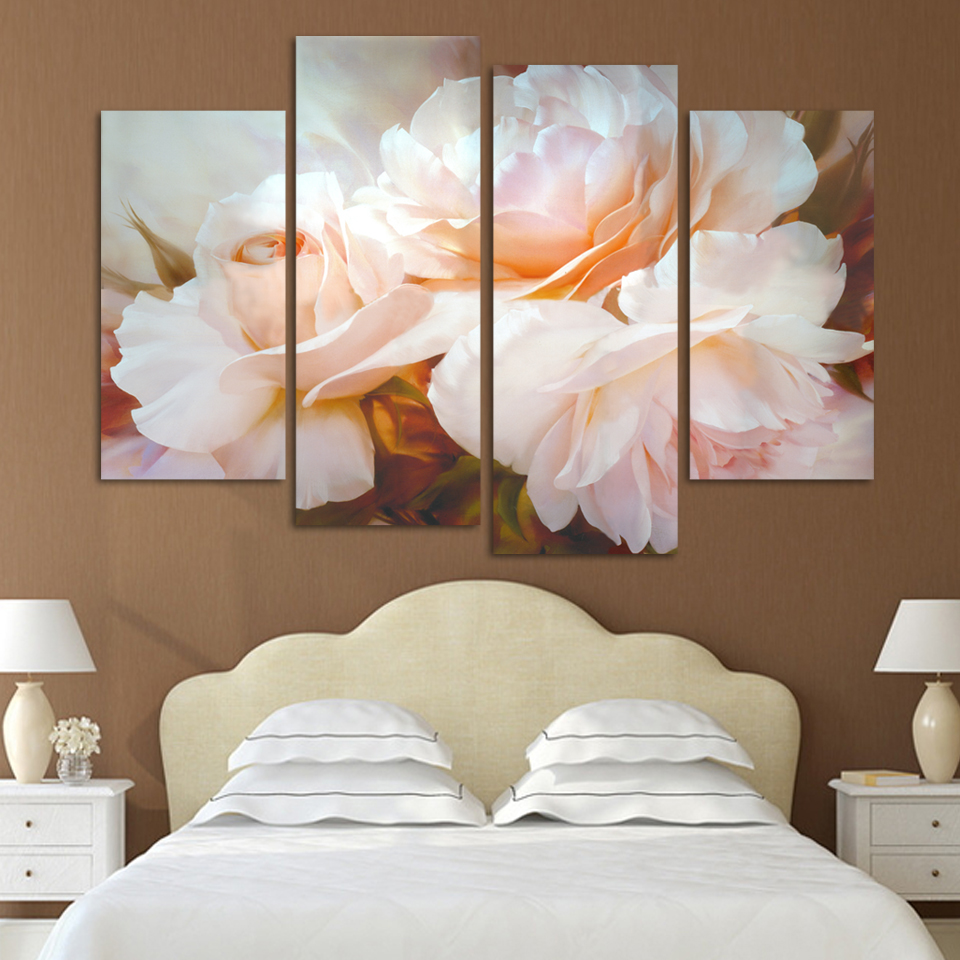 New Modular Pictures Fashion 4 Pcs/Set Combined Rose Flower Paintings Modern Wall Painting Canvas Wall Art Picture Unframed H096(China (Mainland))