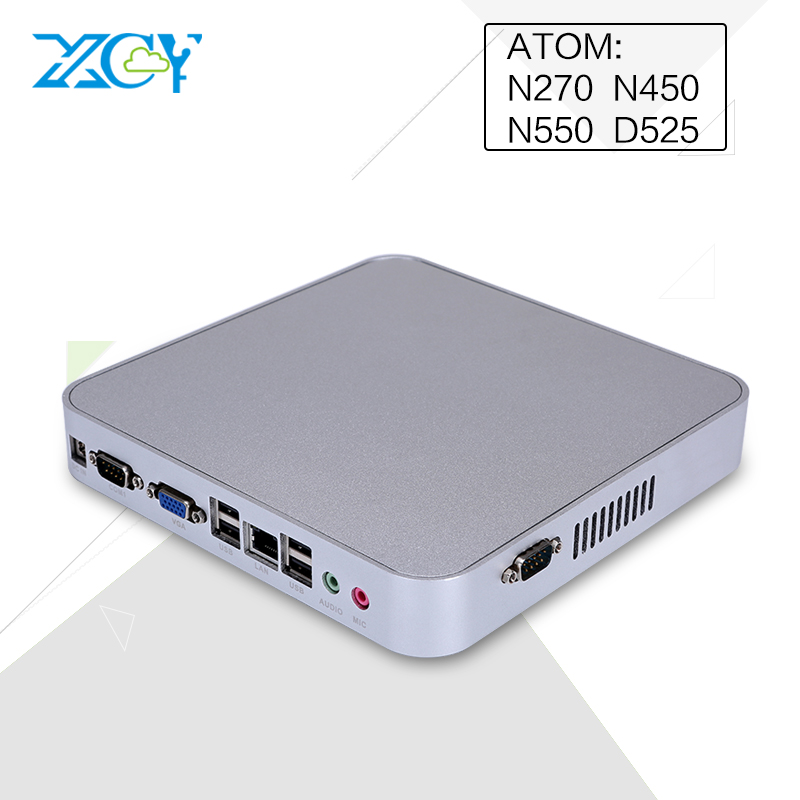 2016 XCY new cheap fanless mini pc computer Atom N270/N450/N550/D525 CPU htpc embedded pc office computer support OEM ODM(China (Mainland))