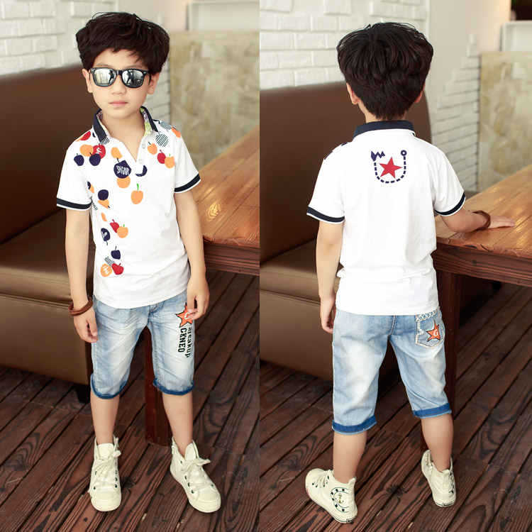Fancy cotton t shirt with fruit t-shirt denim shorts for children teen boys fashion summer teenagers clothing set high quality(China (Mainland))