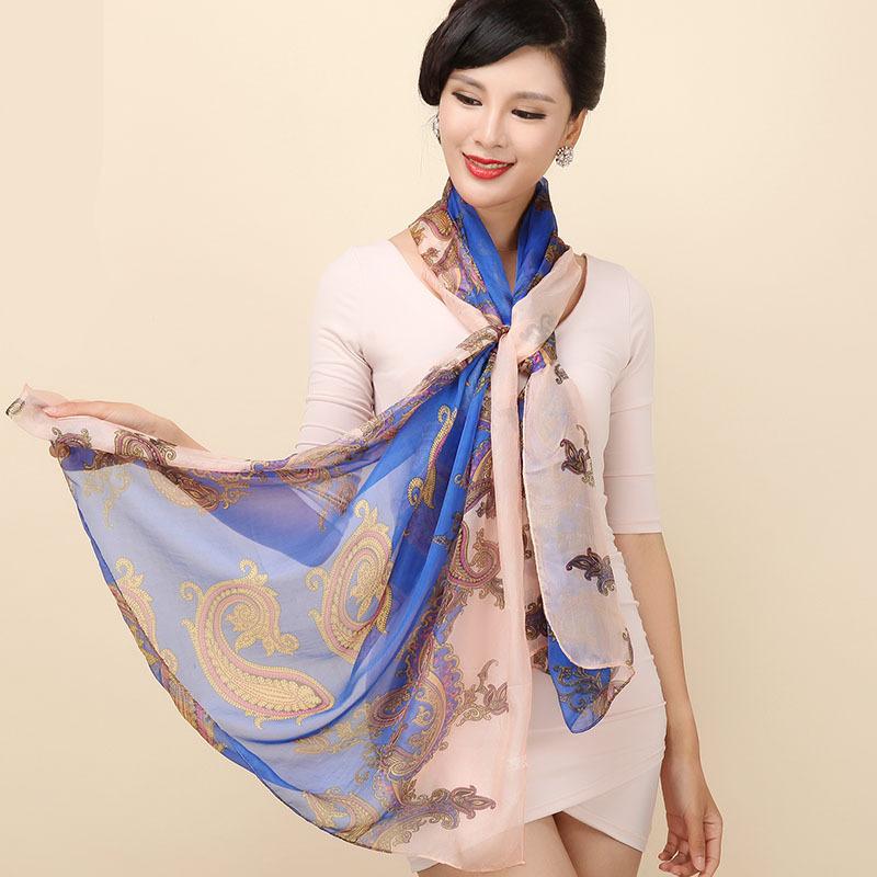 long silk scarves women 100% silk scarf long style fashion shawls wraps lady natural silk pashmina SH051(China (Mainland))