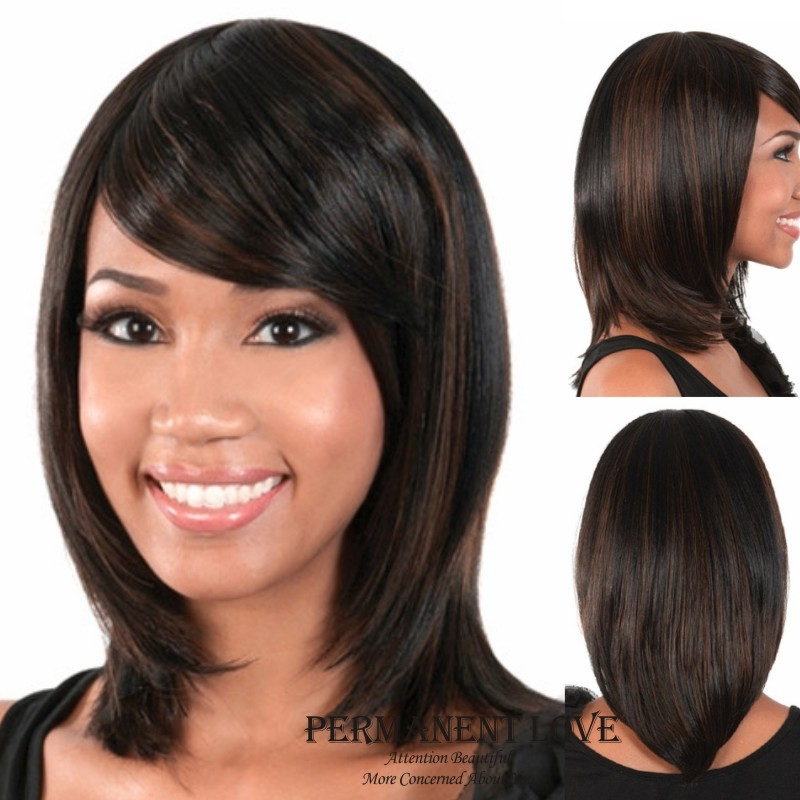 heat resistant synthetic wigs with side bangs straight