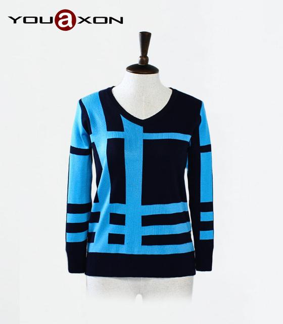 1756 YouAxon мода осень зима свободного покроя элегантный трикотаж пуловеры перемычка ...