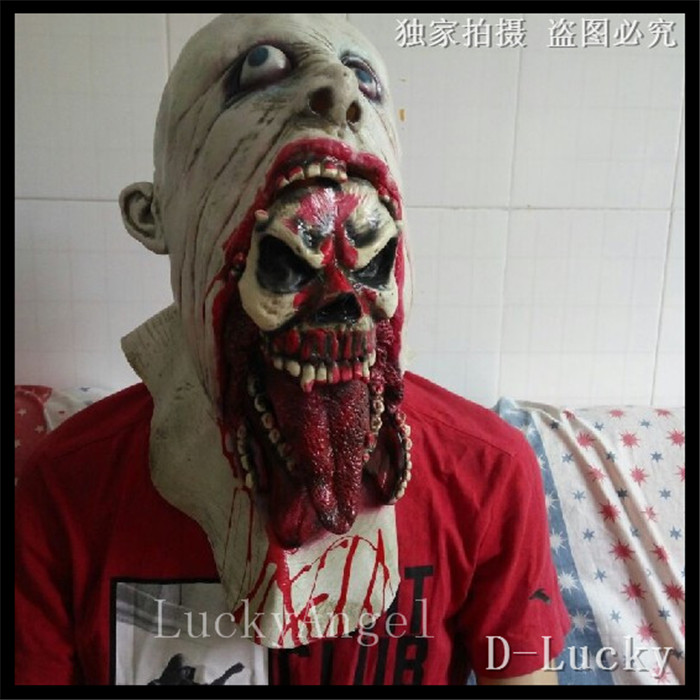 Halloween Party Cosplay Zombie mask latex bloody scary halloween mask adutl costume party cosplay prop adults size in stock(China (Mainland))