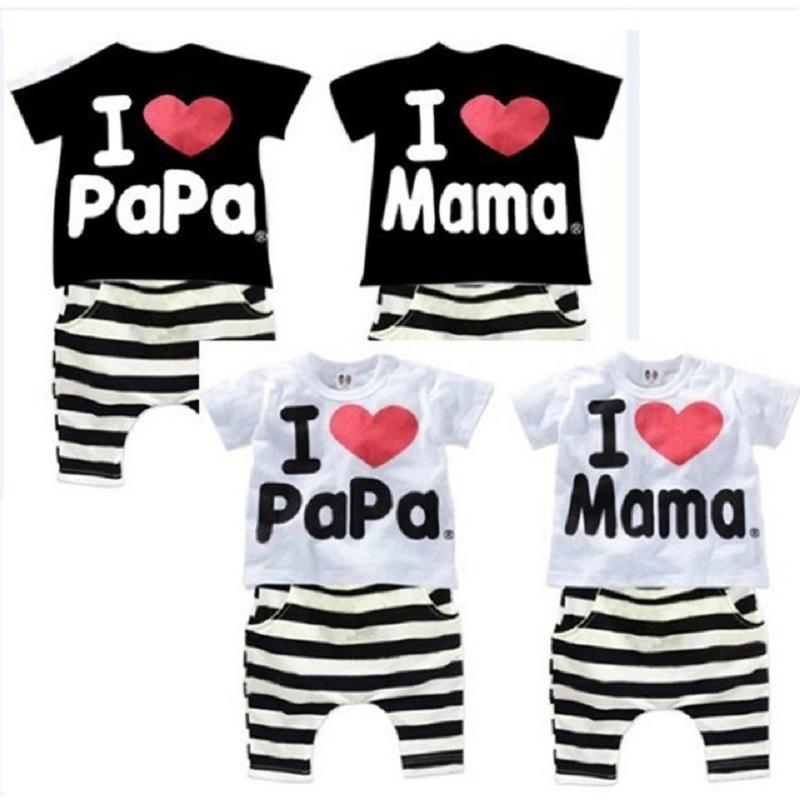 12 M-4T 2016 I Love Papa and Mama Children Clothing I Love Papa Summer Set Boys Girls Suit Kids Boy Girl Sport Pajamas set(China (Mainland))