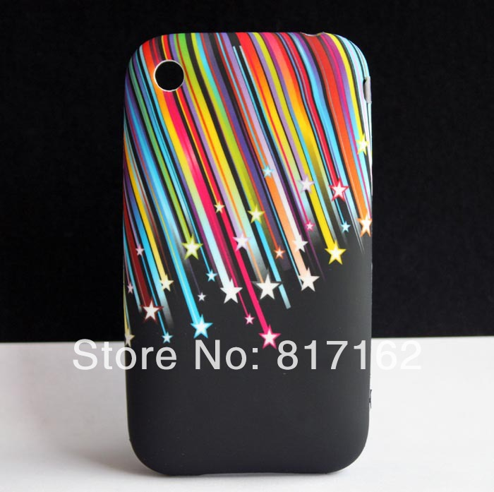 Meteor Rainbow Star Design Soft Rubber GEL TPU Protecting SKIN COVER CASE FOR Apple iPhone 3G 3GS Hotsale(China (Mainland))
