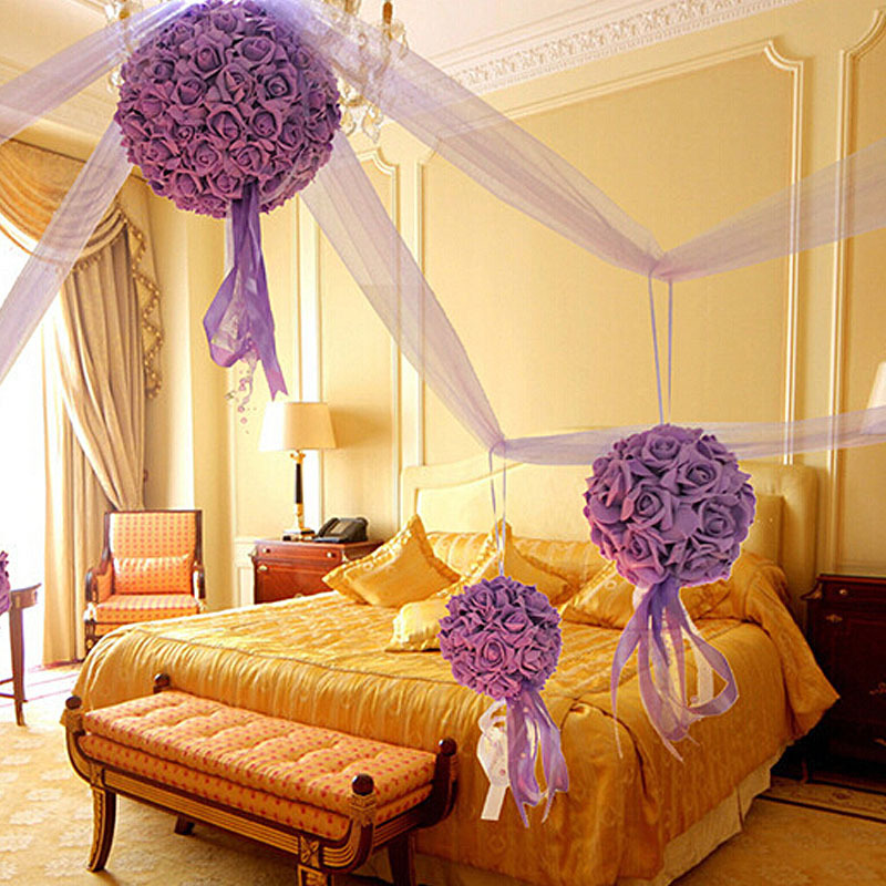 1 Large Flower Ball+4 Small Flower Ball+14m Long Yarn Decorative Flowers Marriage Room Decoration Wedding Gift Decorative(China (Mainland))