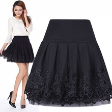 2014 Curta Saia De Renda Femininas High Waist Women Short Lace Tutu Skirt Ball Gown Female Pleated Skirts Free Shipping C157