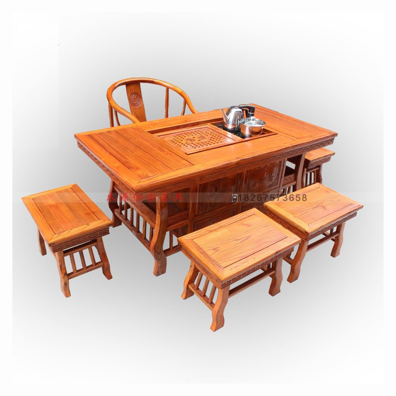 Special tea tables and chairs combination of solid wood for Elm furniture