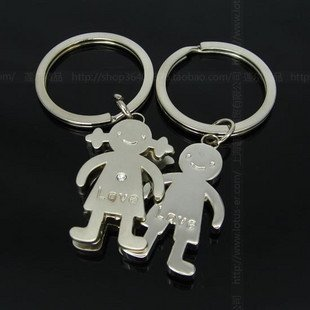 Free Shipping wiht EMS wholesale keychain/couple keychain/20couple/lot/110823 stereo lovers boy girl keychains