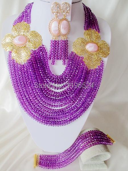 L0uxury Crystal Necklaces Bracelet Earrings African Nigerian Wedding Beads Jewelry Set  A--5622<br><br>Aliexpress