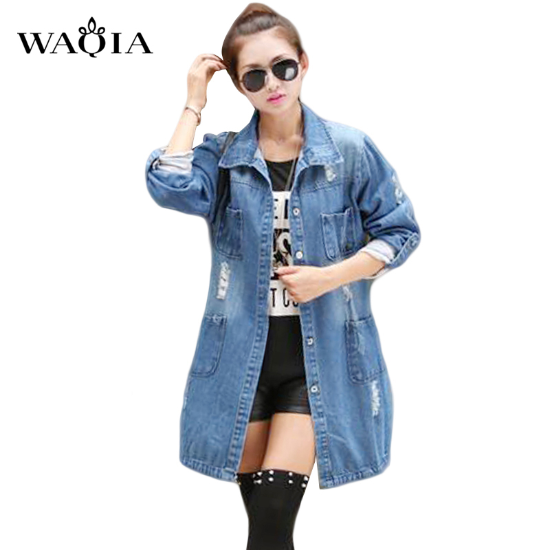 Plus Size 2016 Fashion Spring Autumn Women's vestidos Casual High Street Denim Jacket Long Loose Holes Women coat Outwear(China (Mainland))