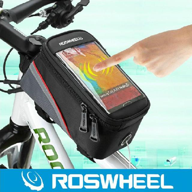 "ROSWHEEL 4.2"" 4.8"" 5.5""1-1/1.5L Cycling Bike Bicycle bags panniers Frame Front Tube Bag For Cell Phone MTB Bike Touch Screen Bag"
