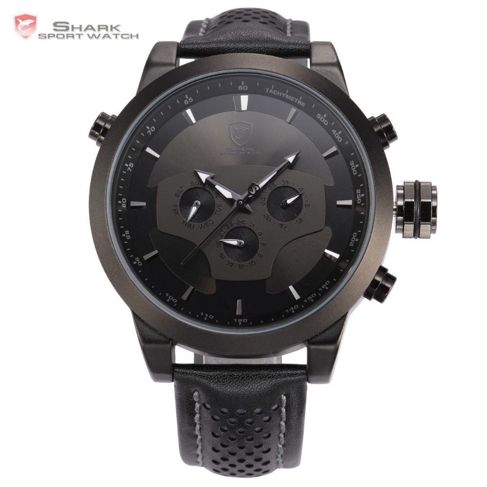Shark 6 Hands Calendar Dual Time Zone Black 3D Dial Outdoor Sport Leather Strap 3ATM Waterproof Wrist Men Military Watch / SH210(China (Mainland))
