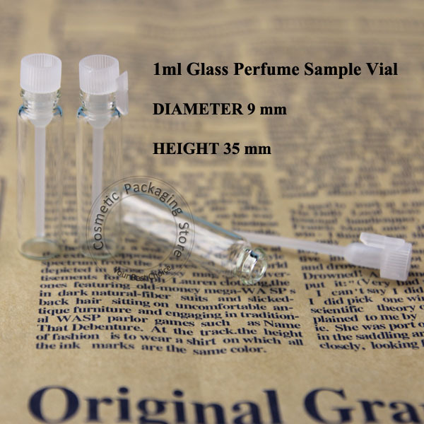 100pcs/lot Wholesale 1ml Mini Glass Perfume Bottle Refillable Cosmetic Container Packaging Small Empty Sample Test Pot(China (Mainland))