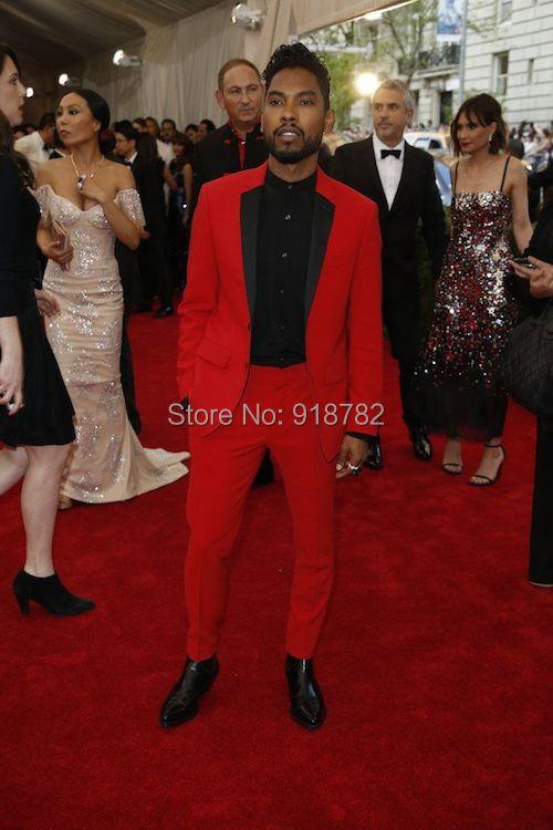 2018 Wholesale 2017 Custom Made Black Lapel Wedding Men Suit Red ...