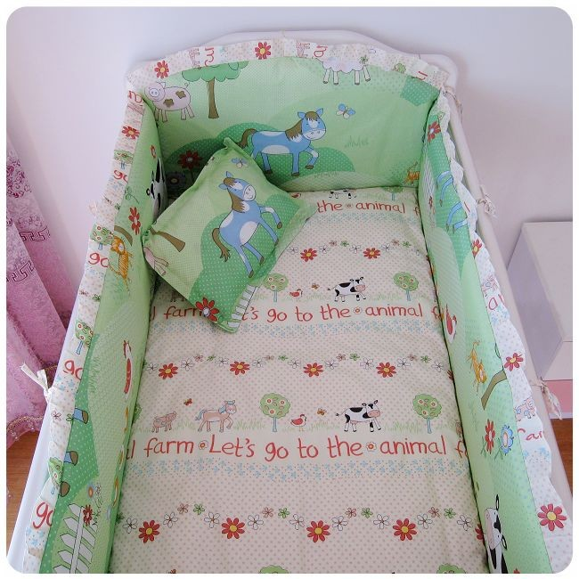 Promotion! 6PCS Baby bedding set girl crib bedding set 100% cotton bedclothes bed decoration (bumpers+sheet+pillow cover)<br><br>Aliexpress