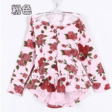 Retail New 2014 Autumn Clothes For Babies Baby Outerwear Fashion Girl's Rose Flower Hooded Coats & Jackets For Children ZZ2498(China (Mainland))