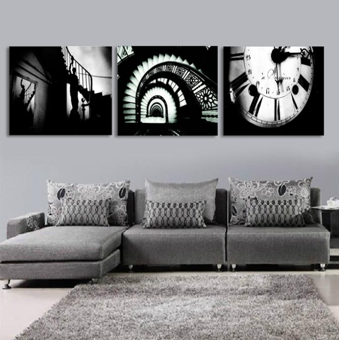 3 piece canvas wall art picture painting decoration home modern picture canvas Prints The clock and the spiral stairs(China (Mainland))