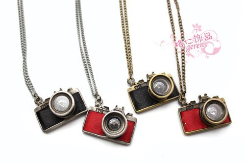 Free Shipping!! Fashion Korea Style Long Chain Camera Necklace/Choker With Camera Pendant D00006C