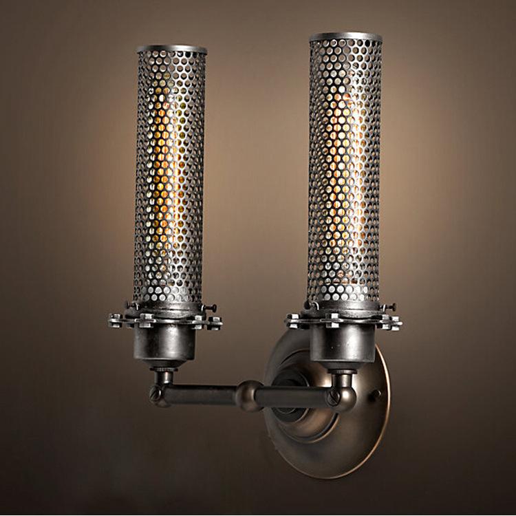 Фотография Loft Style Double Side Metal Covering Wall Lamp Vintage Asile Light Loft Lobby Light Coffee Shop Decoration Light Free Shipping