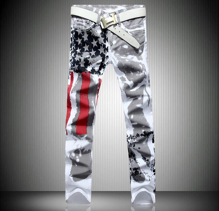 2016 men jean Pants skinny straight jeans men's denim white pants pattern print Fashon Design USA Flag jeans famous brand(China (Mainland))