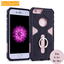 Saiboro Anti-knock 2 in 1 Armored Ring Loop Support Stand Cellphone Case Cover for iPhone 4 5 6 6s plus SE Cases SBR 0215