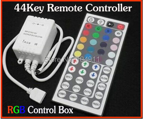 High Quality 12V 6A 44Key IR Remote Controller + RGB Control Box for SMD 3528 5050 RGB LED Strip Lights free shipping 5pcss/lots(China (Mainland))