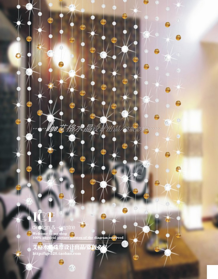 Super Flash crystal bead curtain New special finished curtain Curtain Cut off Wind curtain Amber Free shipping(China (Mainland))