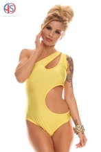 2016 Ladies New Sexy One-shoulder Fashion One-piece Swimsuit Female Bright Yellow High Waist Swimwears