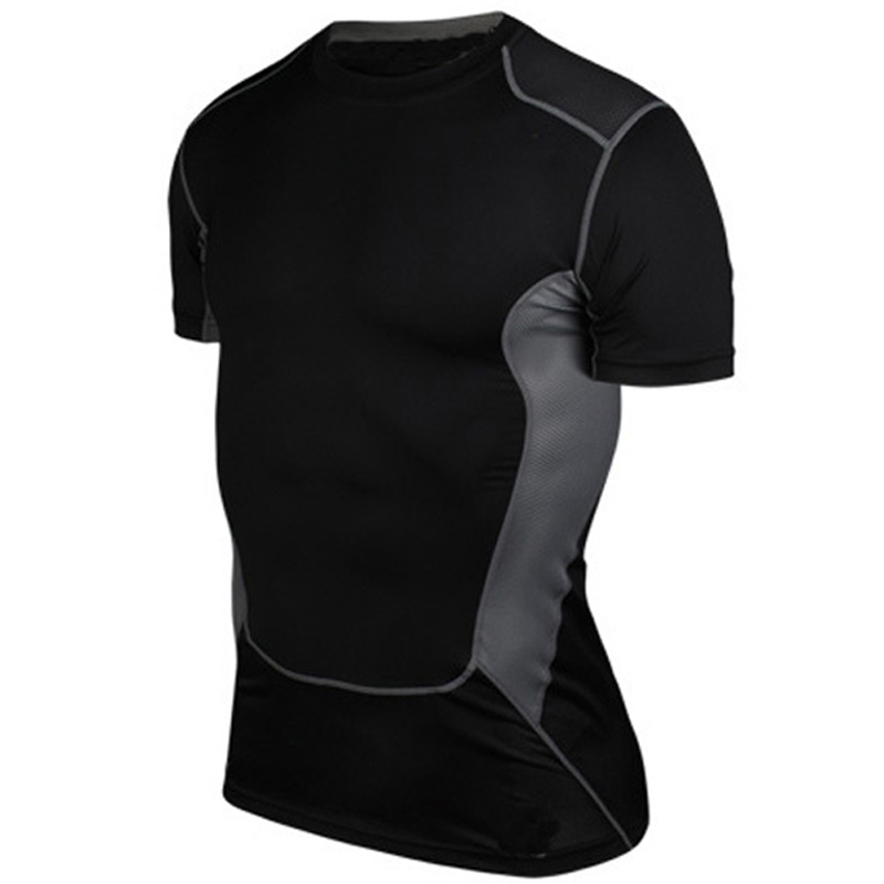 Summer Men's Short Sleeve Shirts Quick Drying Breathable Running Cycling <font><b>Jersey</b></font> Base Layer Workout Fitness Compression Shirt