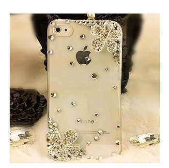 FREE SHIPPING BRAND PHONE CASE-Double Flower Bling Rhinestone Crystal Cell Phone Cover Case For iPhone 4 4S 5 5S 5C(China (Mainland))