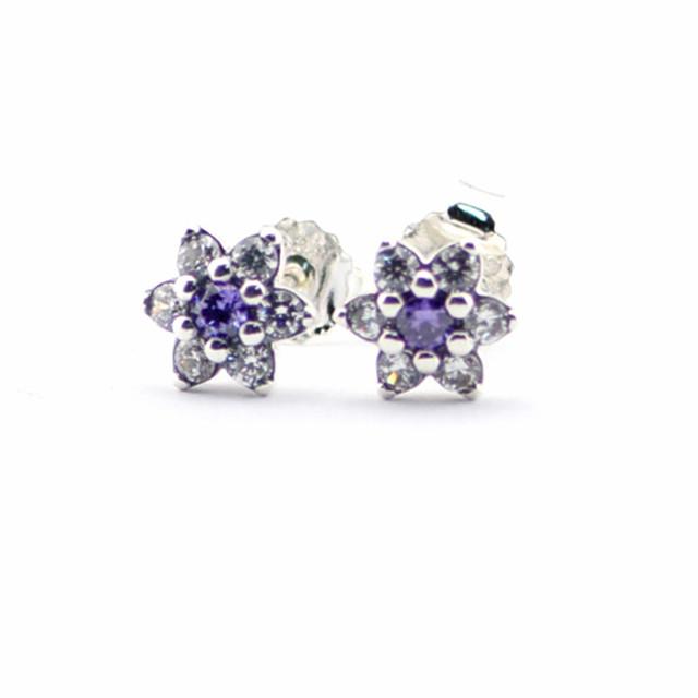 Стерлингового серебра Shimmeing фиолетовый серьги европейский свободного покроя богемия стиль подходит для женщин 2016 мода 925 серебряные ювелирные изделия