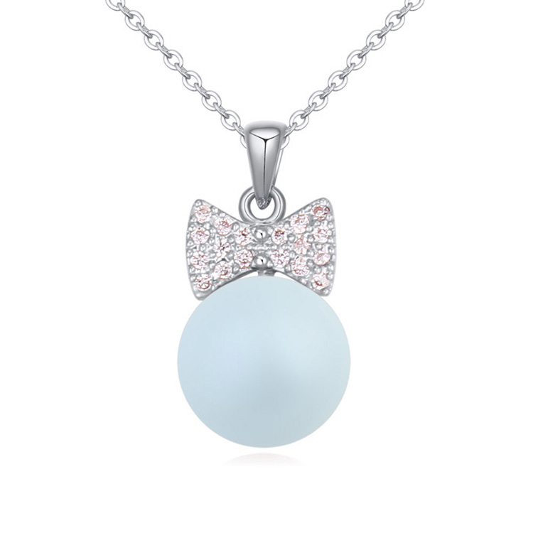 High Quality 7 Color Crystal Pearl Necklaces Swarovski Elements Vintage Women Girl Sterling Silver CZ Jewelry Charm Chain(China (Mainland))