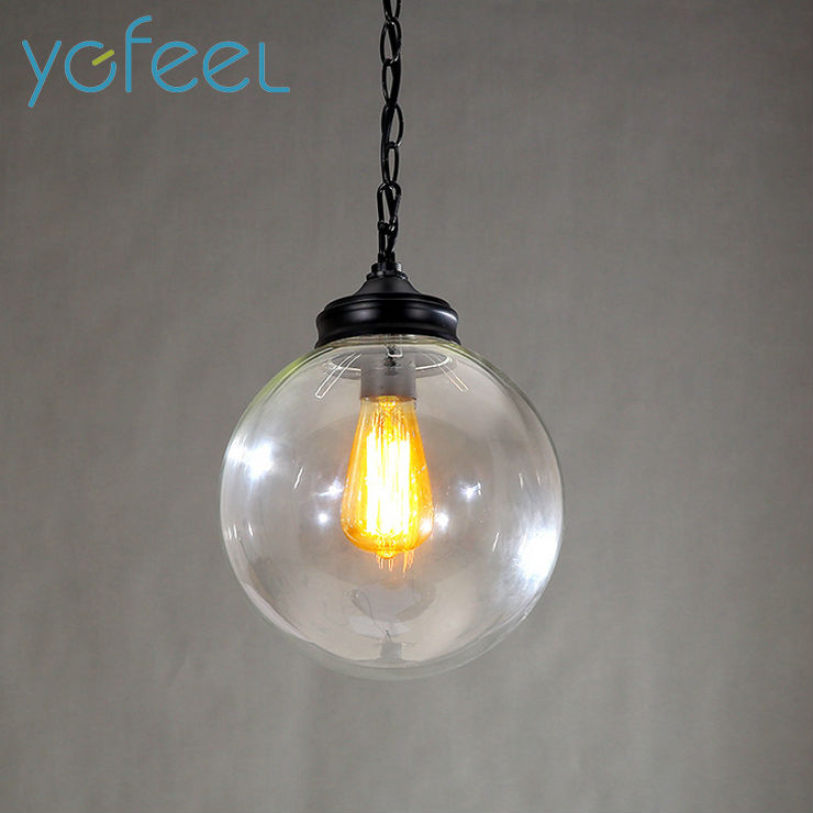 [YGFEEL] Retro Pendant Lights Spherical Black Spray Paint Transparent Glass Lampshade Restaurant Cafe Bar Lamps E27 Holder(China (Mainland))