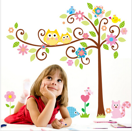 50*70CM Cute Owl Tree Peel & Stick Wall Decal Kindergarten DIY Art Vinyl 3D Wall Stickers Decor Mural 95927(China (Mainland))