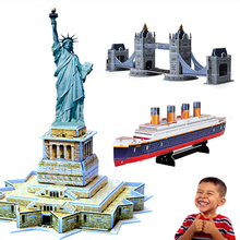 PROMOTION! Educational 3D Model Puzzle Children Kids Gift DIY Toy cardboard EPS board Toys Statue of liberty Titanic Bridge(China (Mainland))