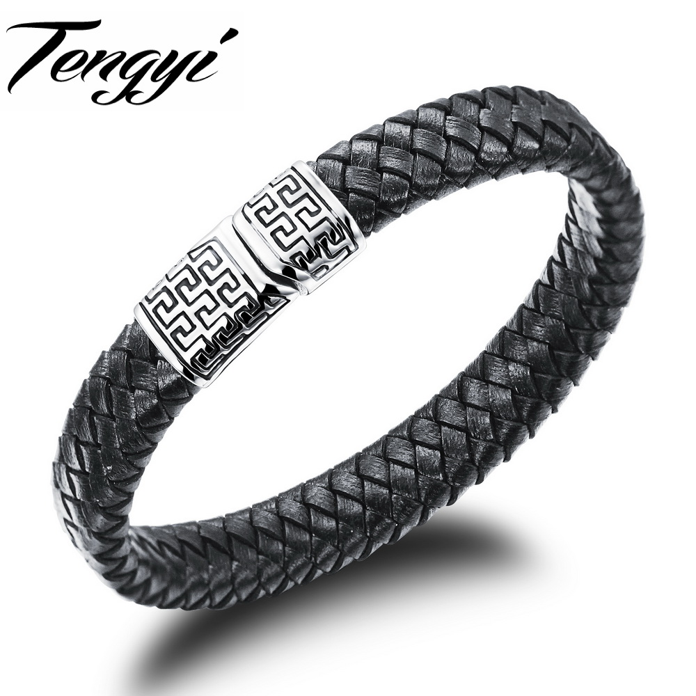 Genuine Leather Anchor Bracelets Magnetic Buckle Button Black Bangle Leisure type Wristband jewelry TY938(China (Mainland))