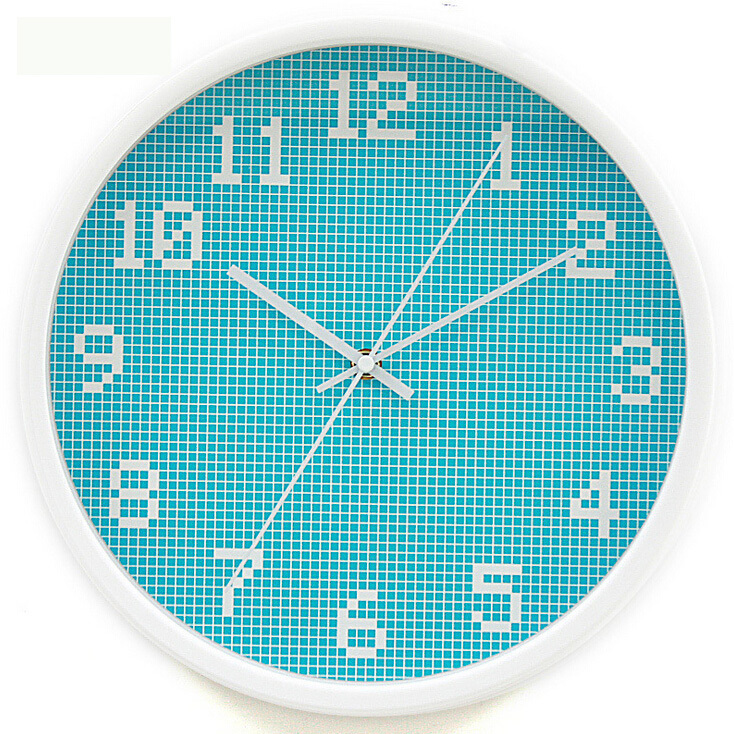 wall watches home decor clock on wall 12 inch pixel lattice blue wall clock fashion Metal clocks on the wall mirror vintage(China (Mainland))