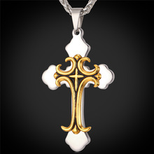 Latin Cross Fleuree Pendant 2015 Christmas Gift Trendy Gold Plated Stainless Steel Men Chain Cross Necklace Men Jewelry IP1720(China (Mainland))