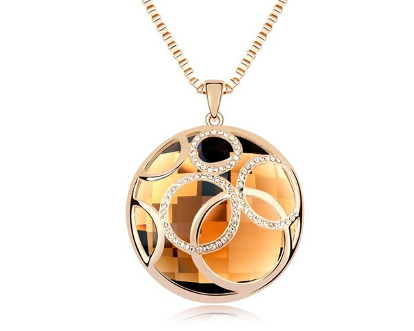 Champagne Crystal Long Necklace Women Unique Costume Jewelry Made With Swarovski Elements Lady Big Necklaces Jewellery NXL0003