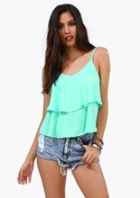 women summer casual solid sky blue o-neck sleeveless chiffon tank top vest(China (Mainland))