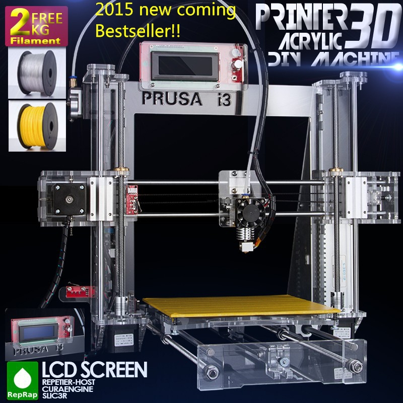 2015 Upgraded Quality High Precision Reprap Prusa i3 DIY 3d Printer kit with 2 Rolls Filament 8GB SD card and LCD for Free(China (Mainland))