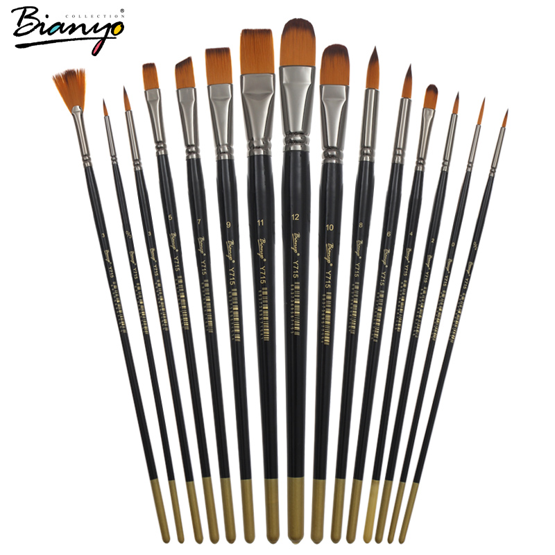 Bianyo 15Pcs Paint Brush Gift Set Different Shape Watercolor Brush Set For Drawing Canvas Bag Special Gift Art Craft Supplies(China (Mainland))